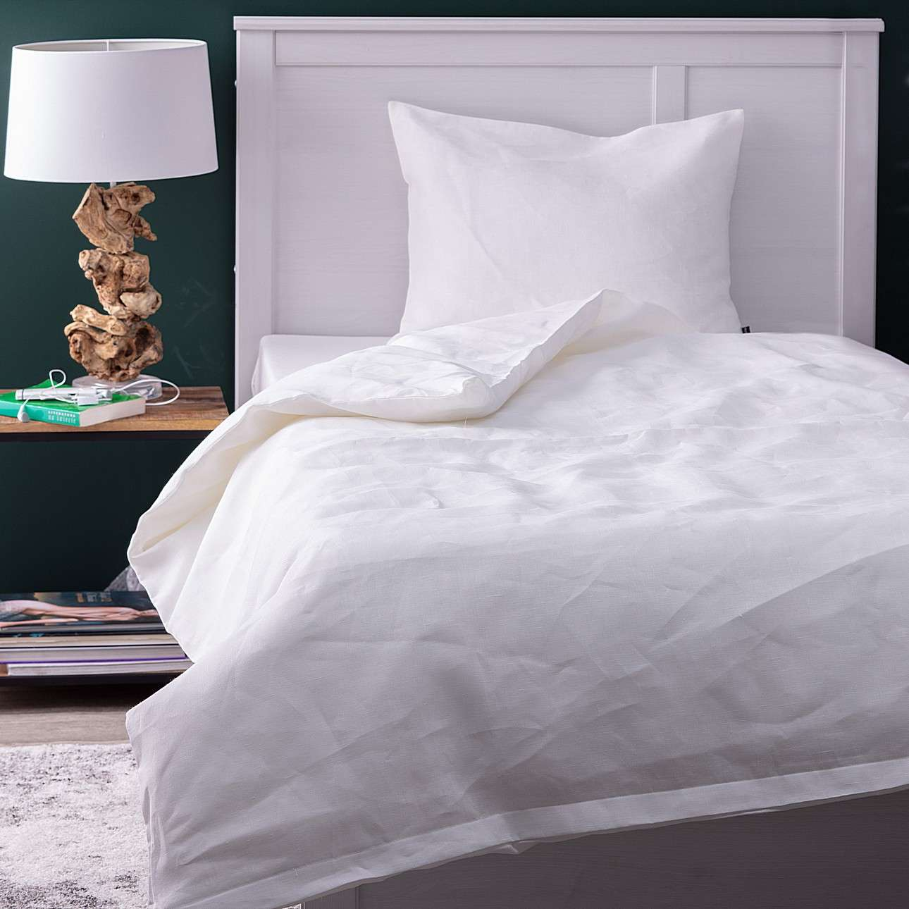 Komplet pościeli lnianej Linen 150x200cm white