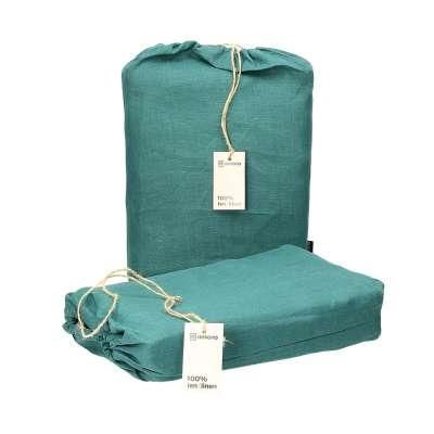 Komplet pościeli lnianej Linen 220x200cm emerald green Pościel - Dekoria.pl