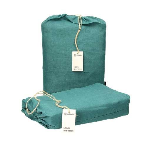 Komplet pościeli lnianej Linen 160x200cm emerald green