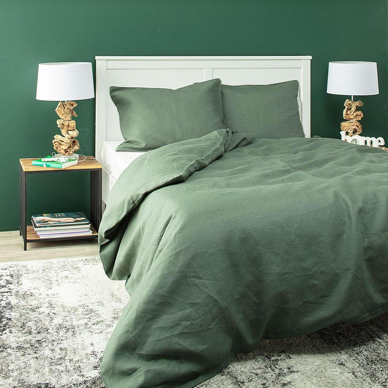 Komplet pościeli lnianej Linen 200x200cm green