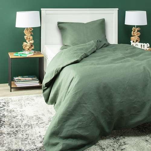 Komplet pościeli lnianej Linen 150x200cm green