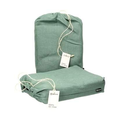 Komplet pościeli lnianej Linen 150x200cm green Pościel - Dekoria.pl
