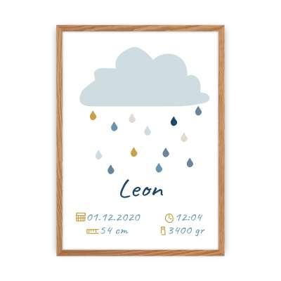 Tabulka s údaji o narození Rain of Happiness Obrazy v rámech - Yellowtipi.cz