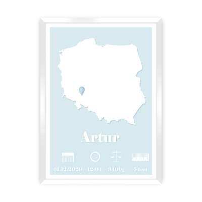Metryczka The Map baby blue
