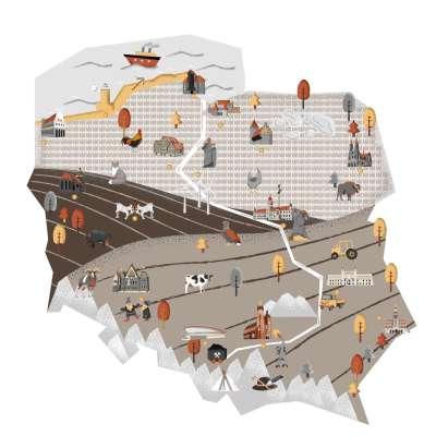 Naklejka Mapa polski beżowa