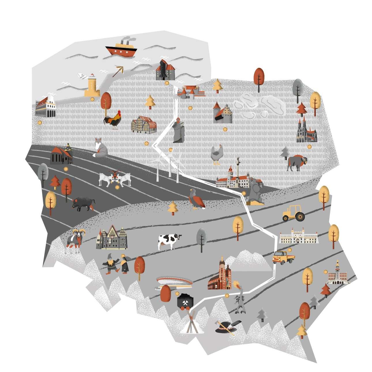 Naklejka mapa Polski szara