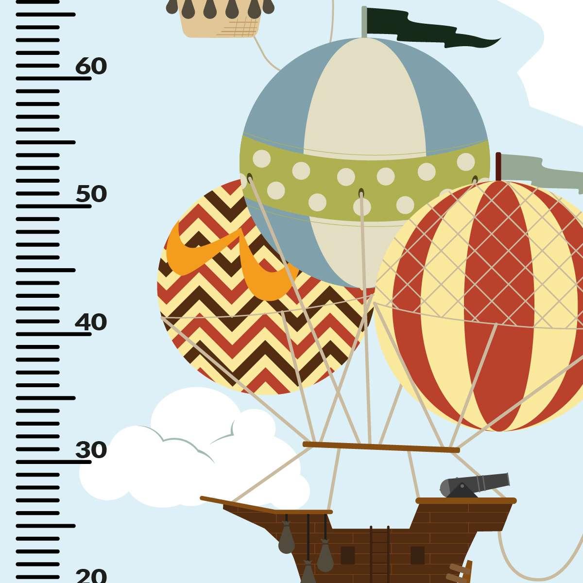 Naklejka miarka Travel Balloons 150x60