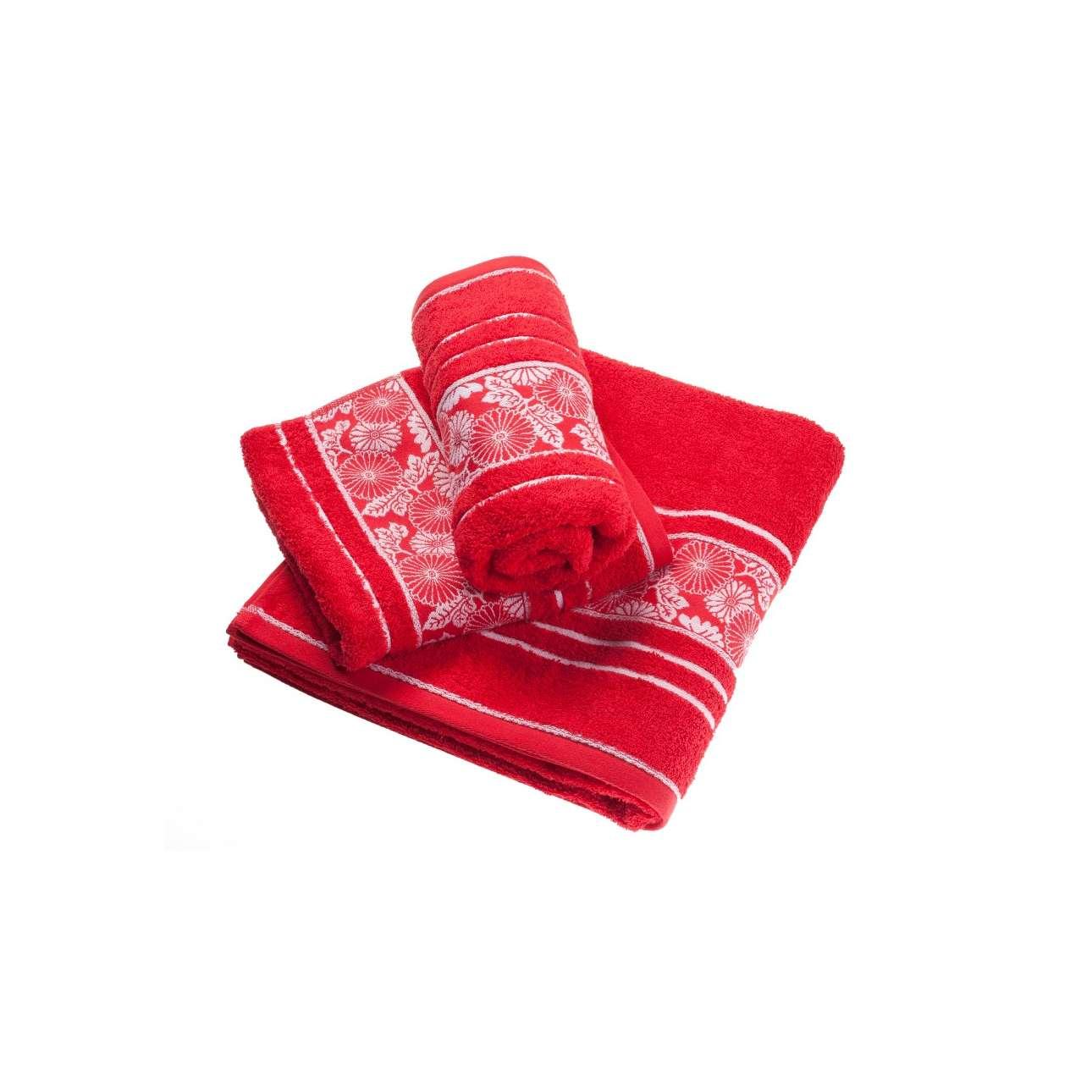 Ručník Castelo červený s výšivkou