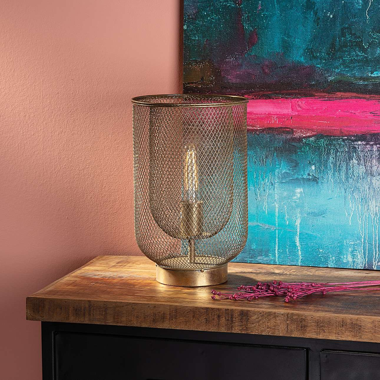 Lampa stołowa Campos 35cm gold
