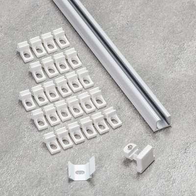Aluminium-Vorhangschiene 1-läufig im Set 210cm