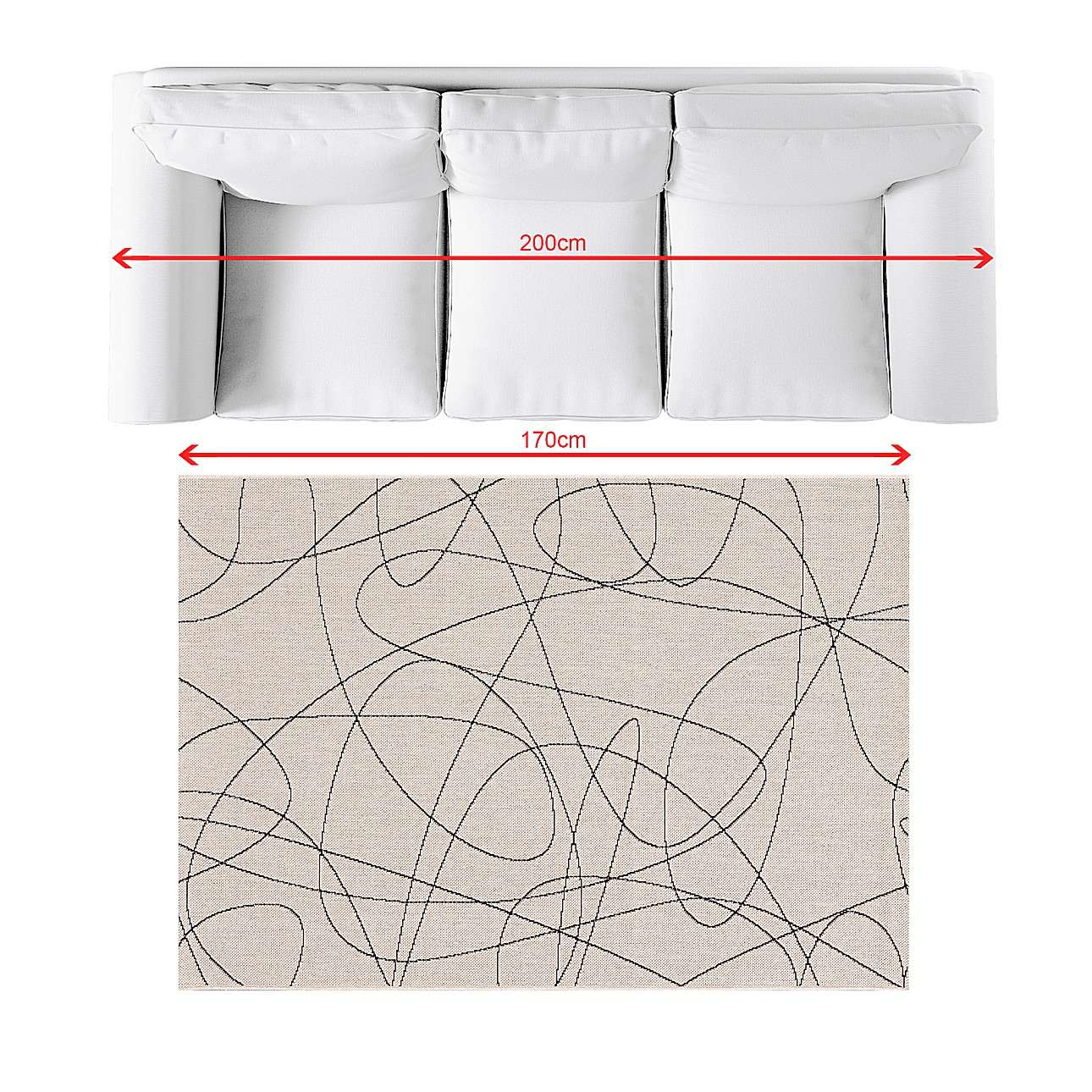 Teppich Lineo wool/ black 120x170cm