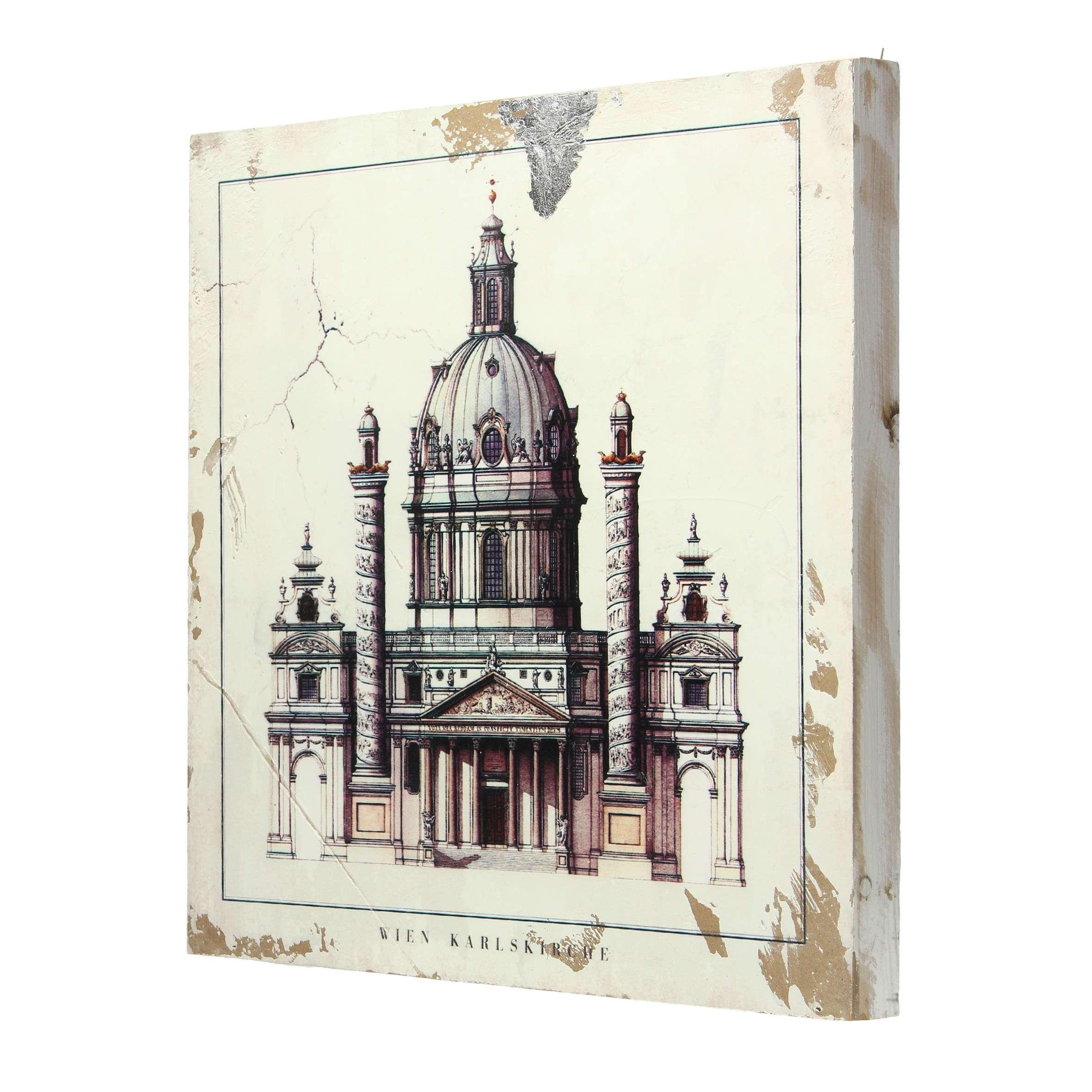 Bild auf Holz Karlskirche 40x40cm