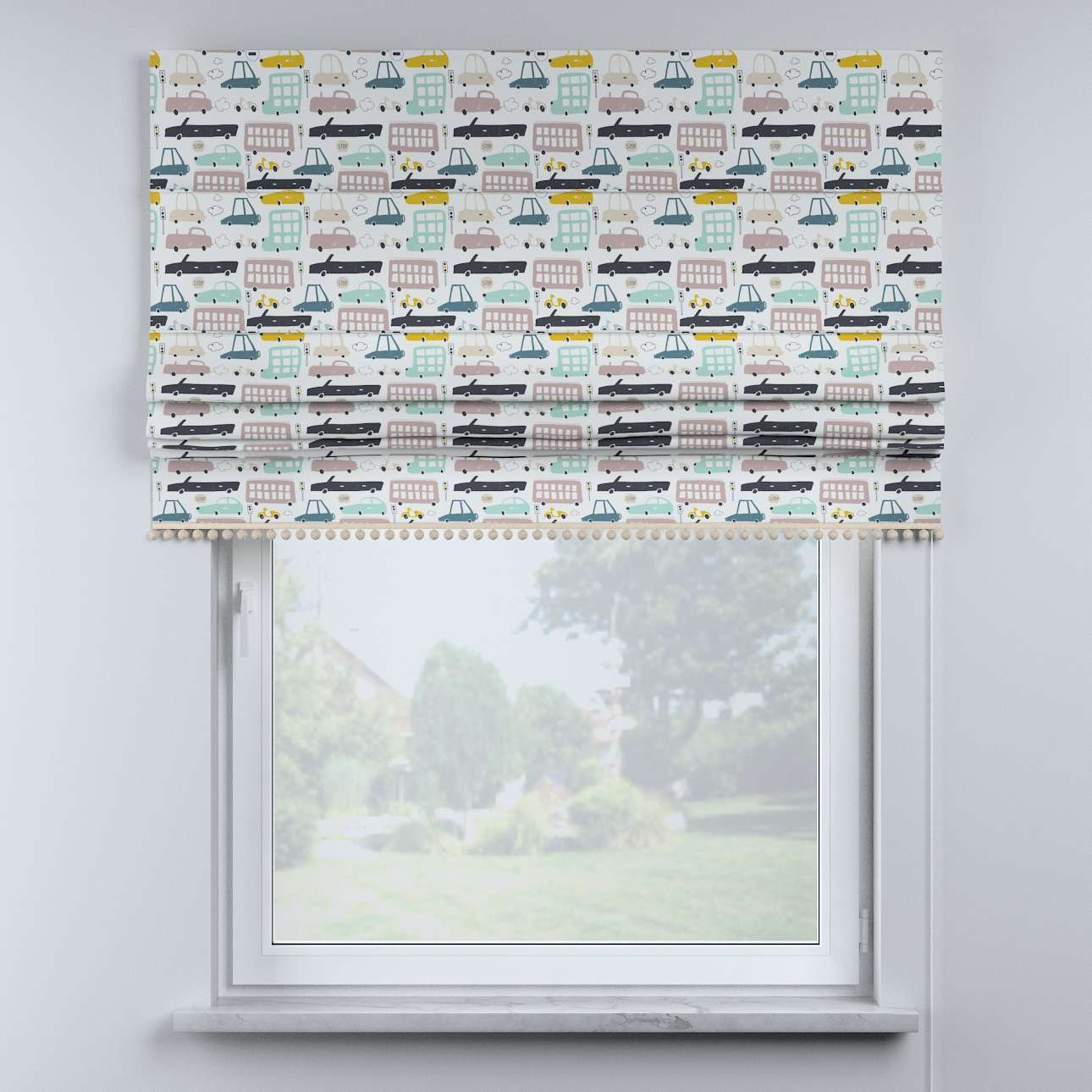 Roman blind with pompoms in collection Magic Collection, fabric: 500-02