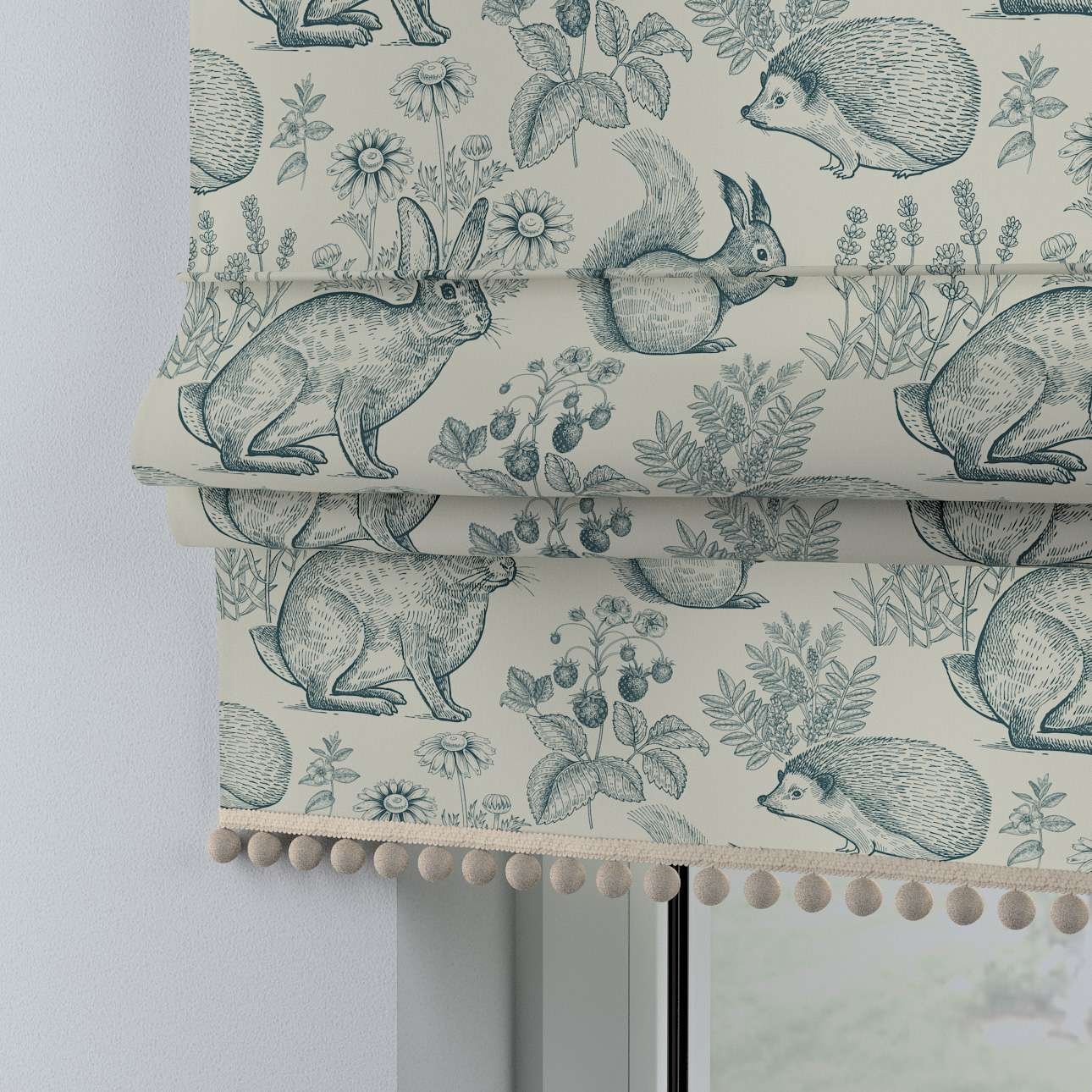 Roman blind with pompoms in collection Magic Collection, fabric: 500-04