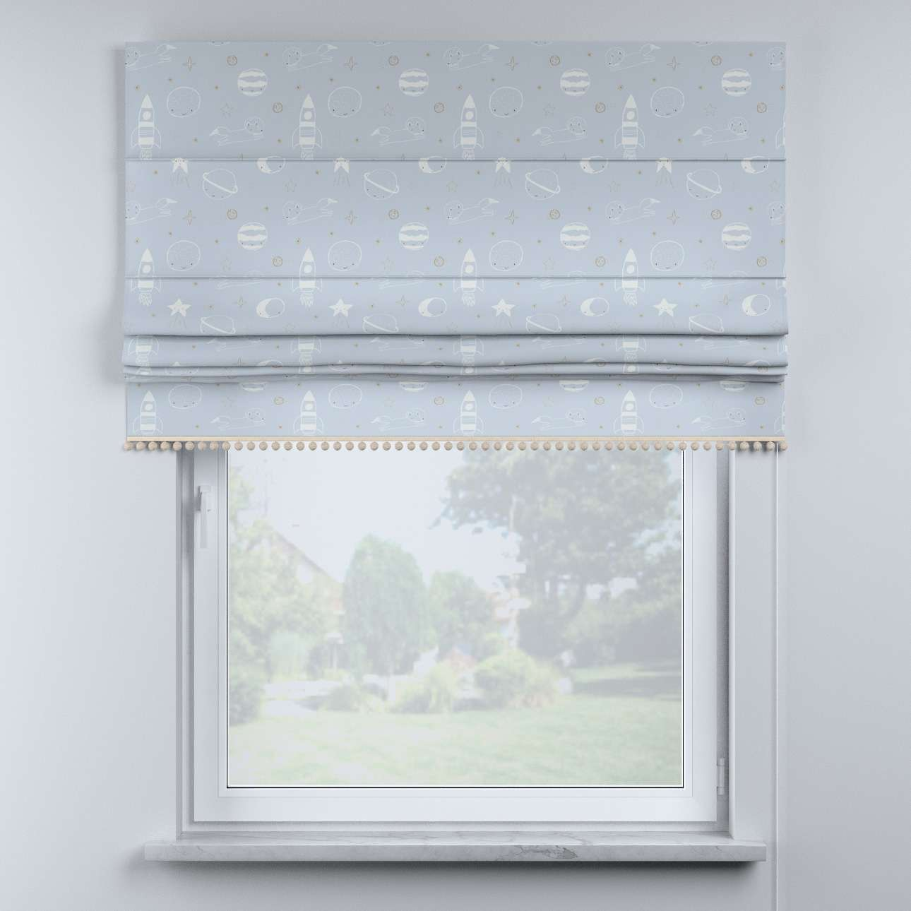 Roman blind with pompoms in collection Magic Collection, fabric: 500-16