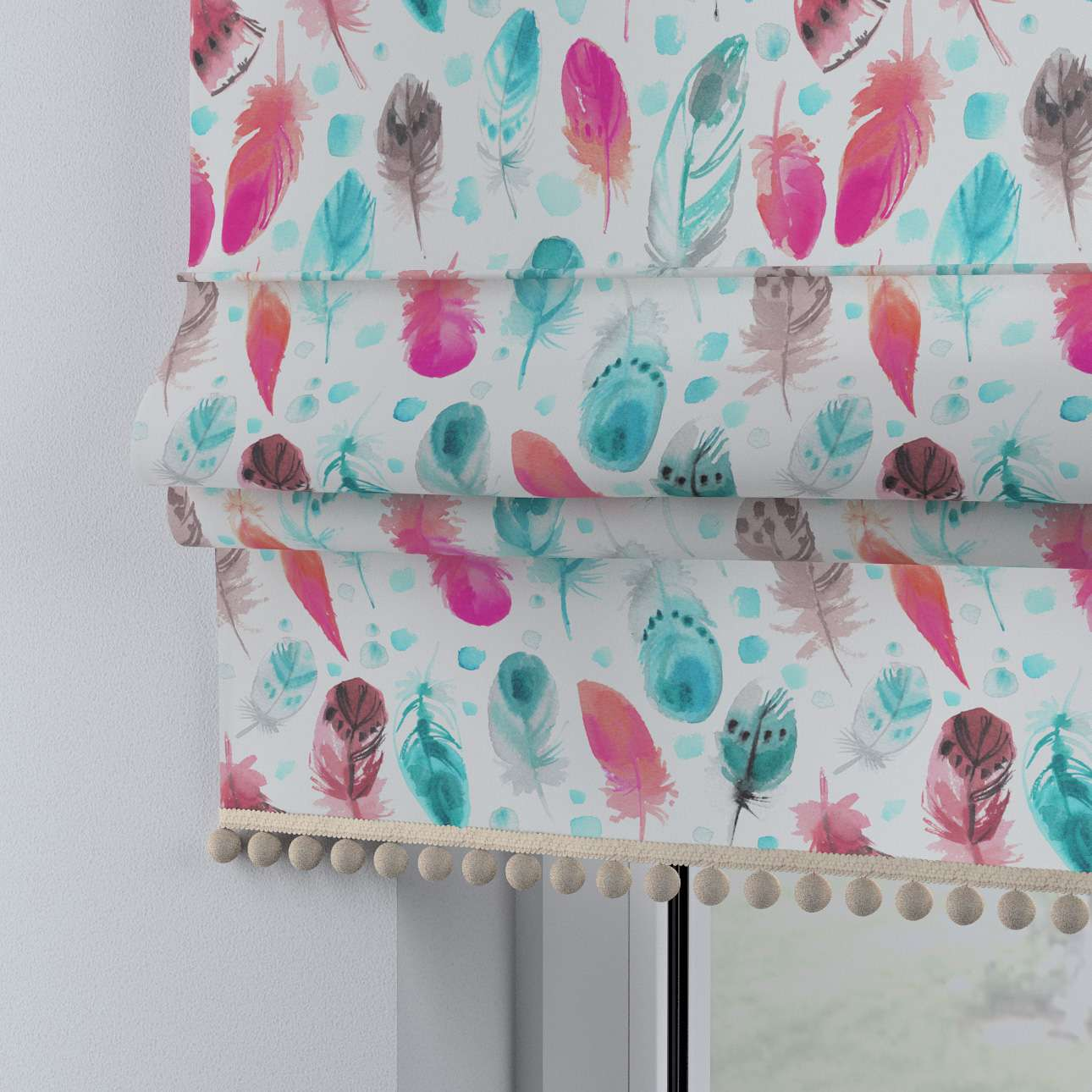 Roman blind with pompoms in collection Magic Collection, fabric: 500-17