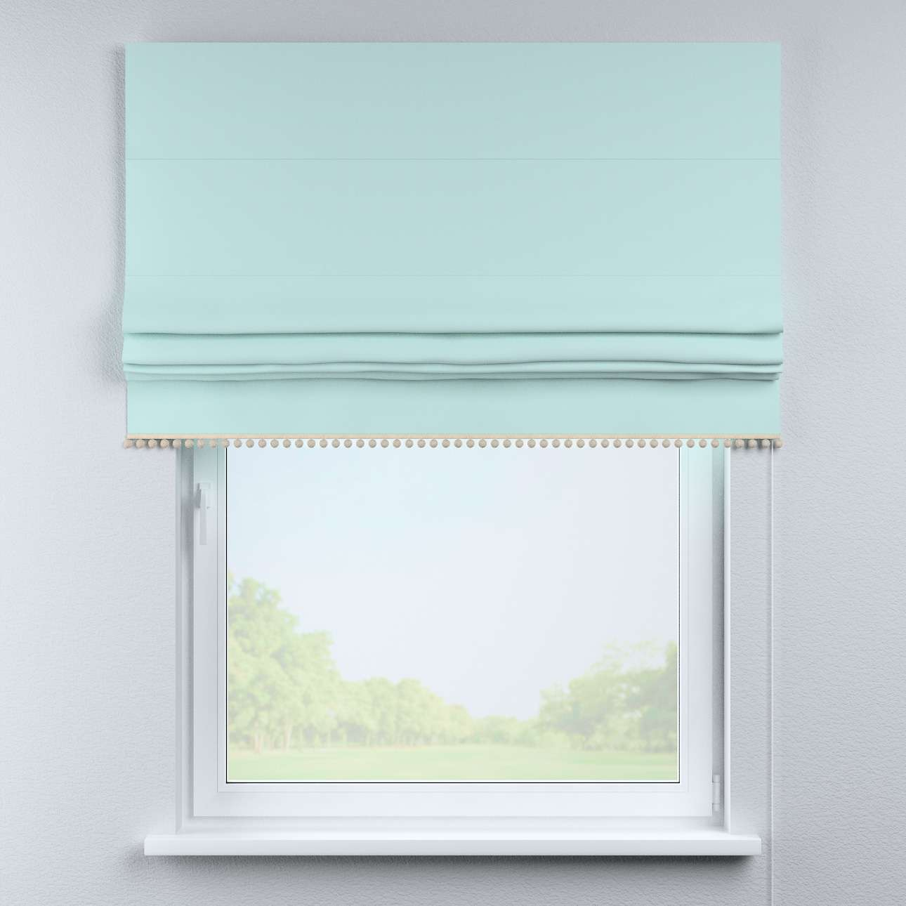 Roman blind with pompoms in collection Cotton Story, fabric: 702-10