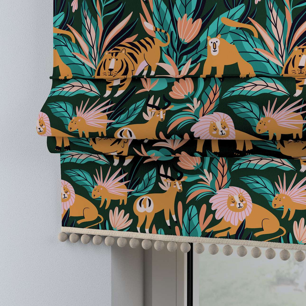 Roman blind with pompoms in collection Magic Collection, fabric: 500-42