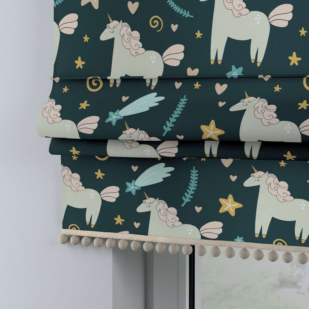 Roman blind with pompoms in collection Magic Collection, fabric: 500-43