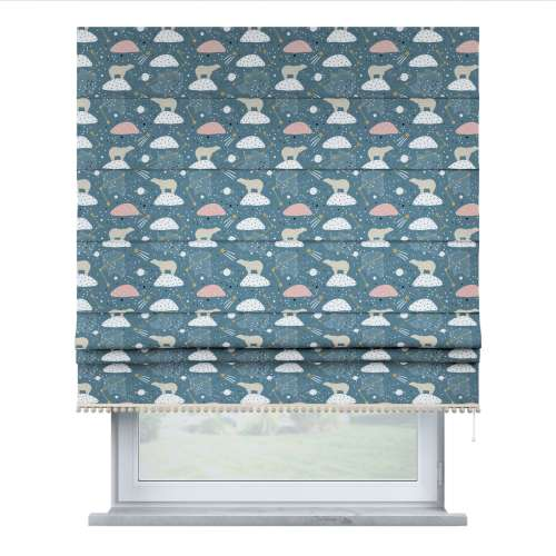 Roman blind with pompoms