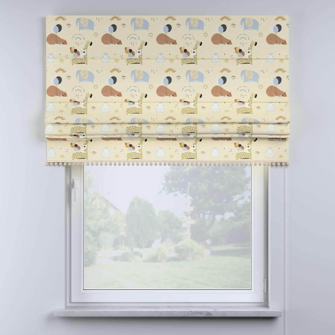Roman blind with pompoms in collection Magic Collection, fabric: 500-46