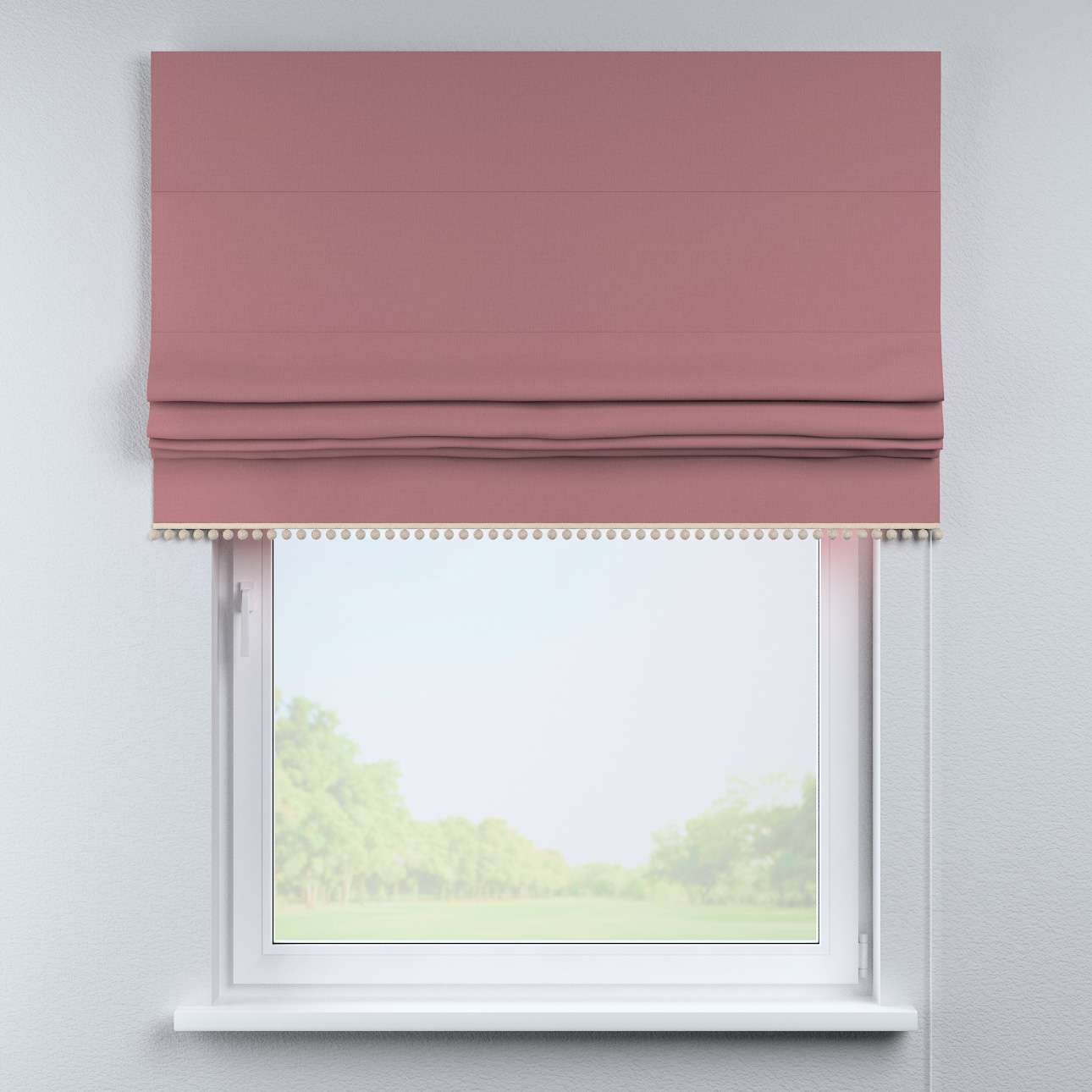 Roman blind with pompoms in collection Cotton Story, fabric: 702-43