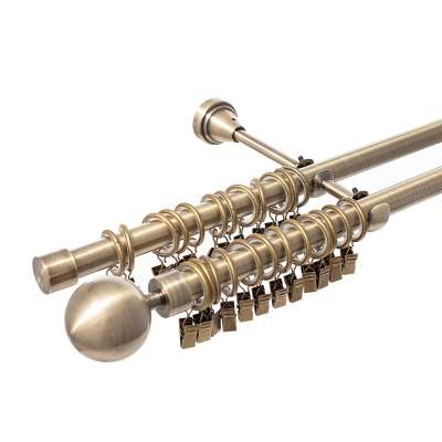 Gardinenstange Elegant antique brass 160cm zweiläufig Gardinenstangen - Dekoria.de