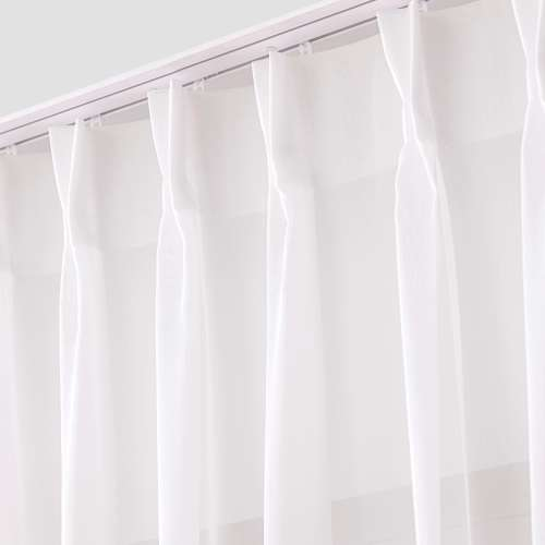 Voile curtains with pinch pleat