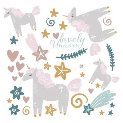 Lovely Unicorn sticker set Stickers set - Yellowtipi.uk