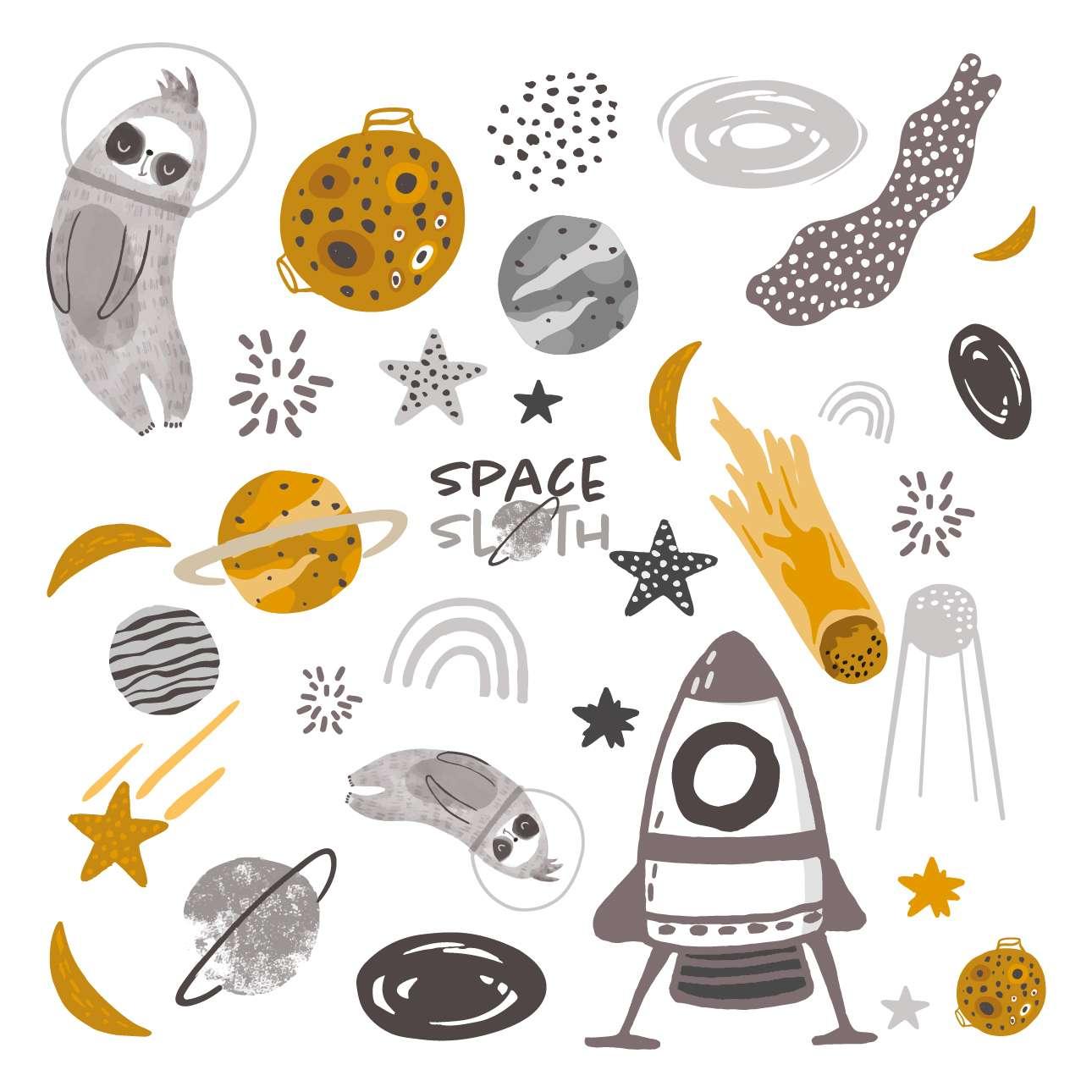 Space Sloth sticker set