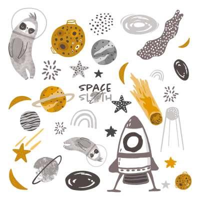 Aufkleber-Set Space Sloth Wandsticker - Yellow-tipi.de