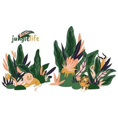 Aufkleber-Set Jungle Life Wandsticker - Yellow-tipi.de