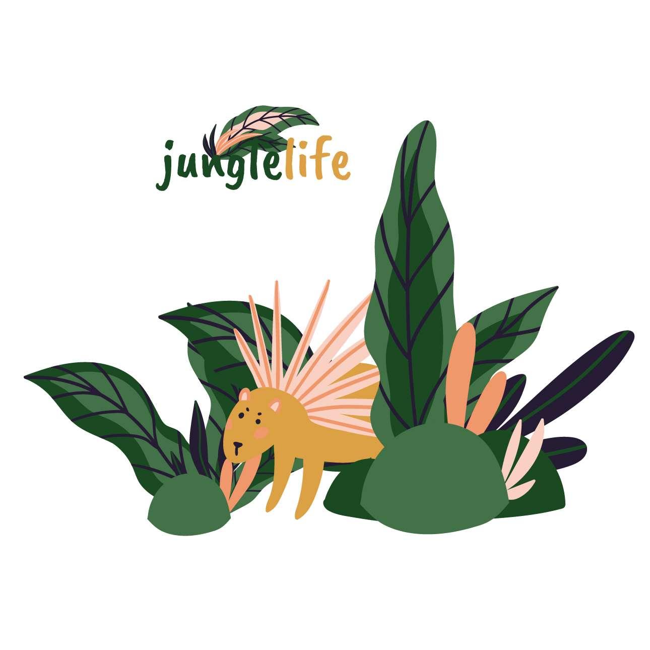 Jungle Life porcupine sticker