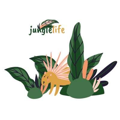 Jungle Life Porcupine - der Aufkleber hinter das Bett Wandsticker - Yellow-tipi.de