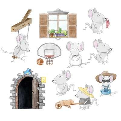 Aufkleber Mini Set Little Mice