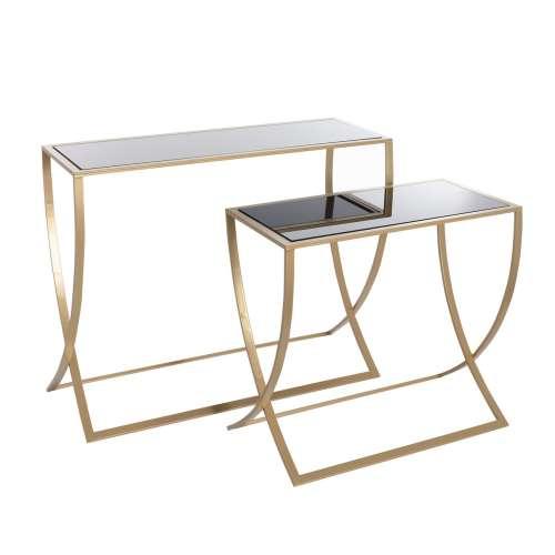 Boční stolek - konzole Glossy gold - 2 ks