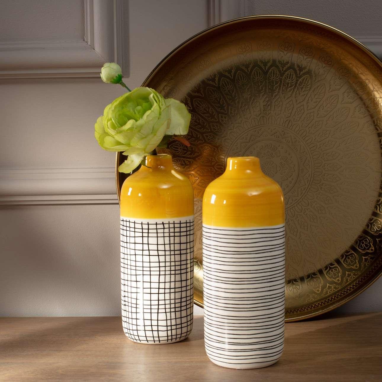 Vase Fresh Lemon 19cm grid