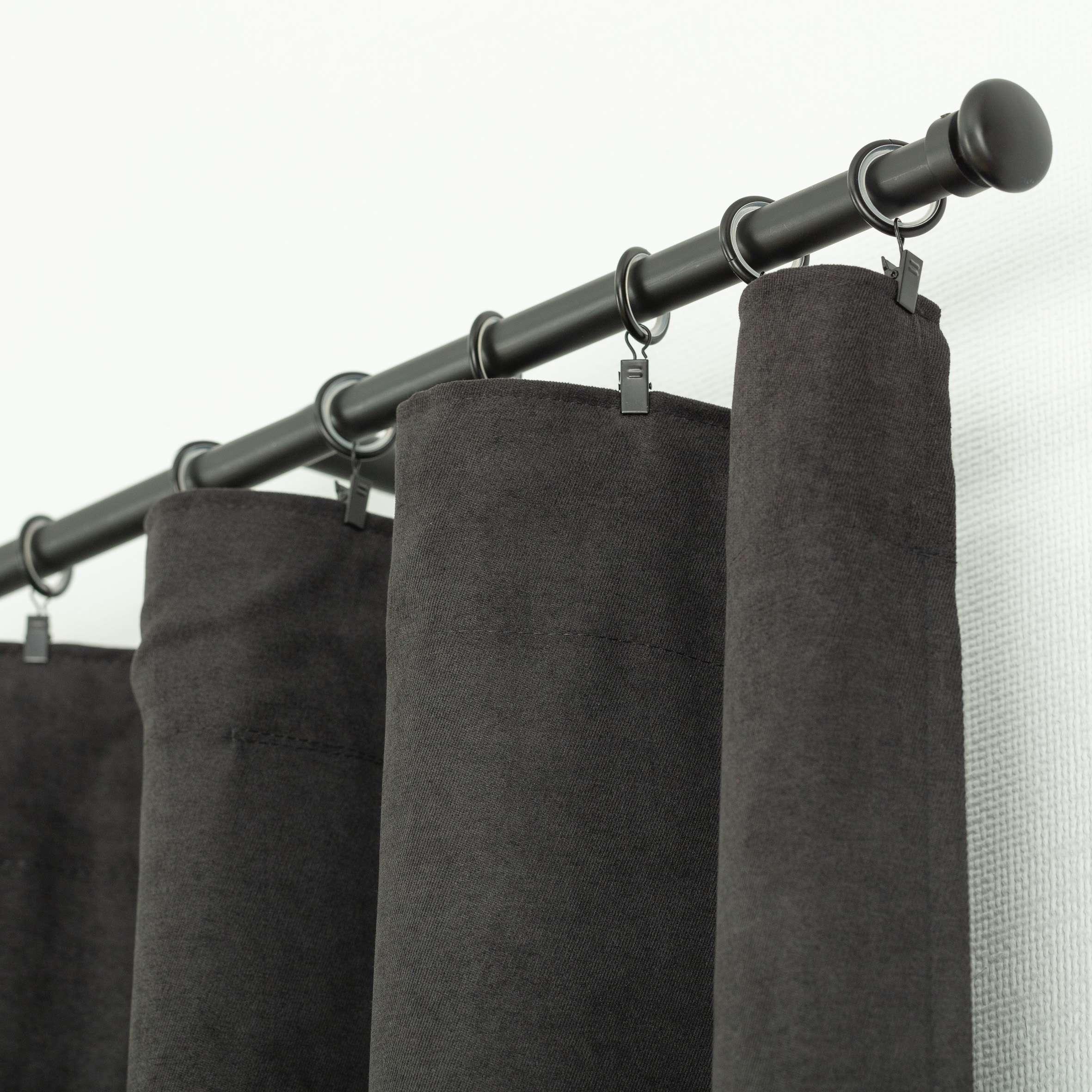 Zasłona BASIC na taśmie marszczącej 140x260cm czarny szenil 1 szt.