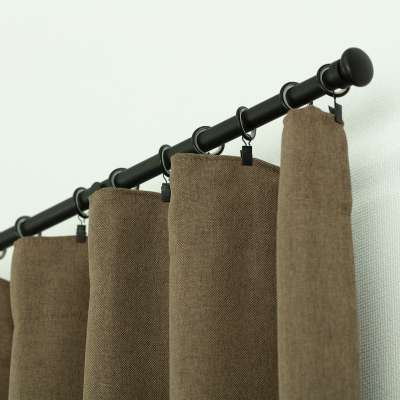 Ready-made curtain BASIC with pleating tape 140x280cm light brown Ready made curtains BASIC - Dekoria.co.uk