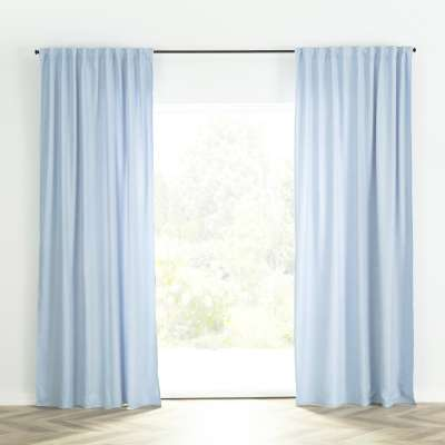 Ready-made curtain BASIC with pleating tape140x260cm blue chenille Ready made curtains BASIC - Dekoria.co.uk