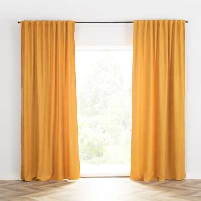 Ready-made curtain BASIC with pleating tape 140x260cm honey yellow chenille Ready made curtains BASIC - Dekoria.co.uk