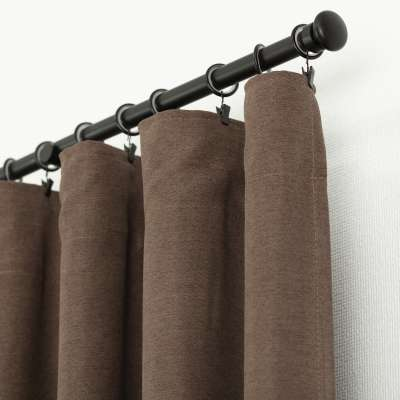 Ready-made curtain BASIC with pleating tape 140x260cm brown chenille Ready made curtains BASIC - Dekoria.co.uk