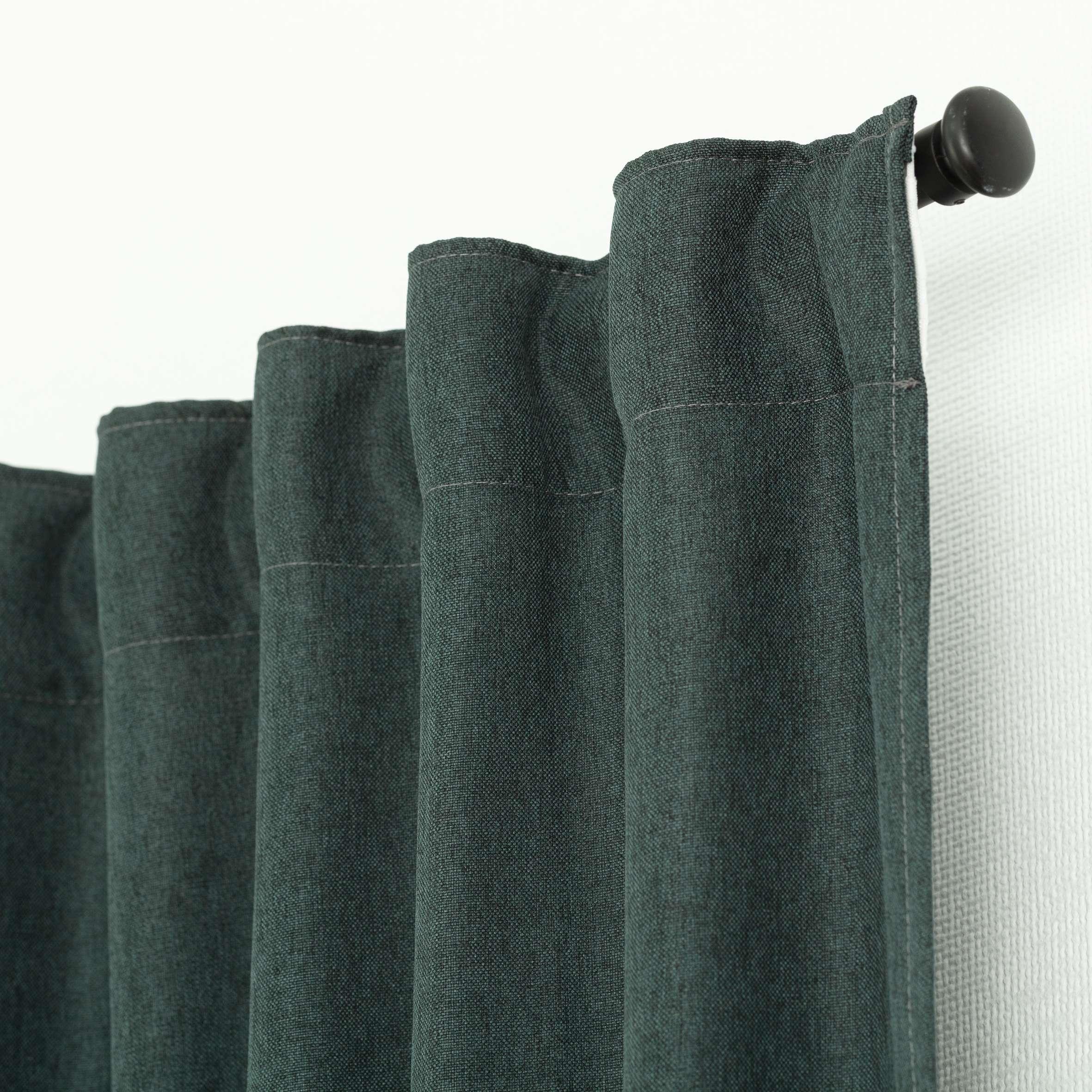 Fertigvorhang BASIC mit Kräuselband 140x300cm, dunkelgrün