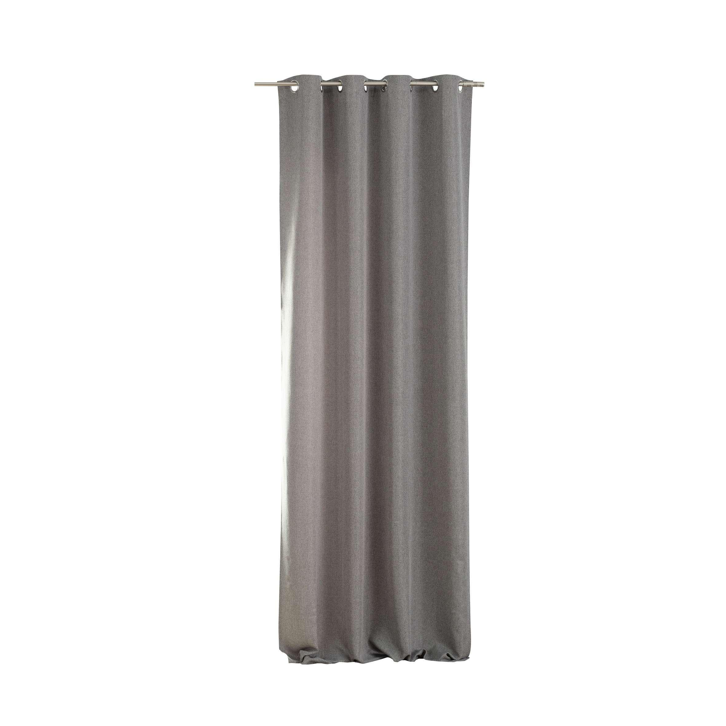 Kant en klaar gordijn BASIC met ringen 140x280cm, melange grey