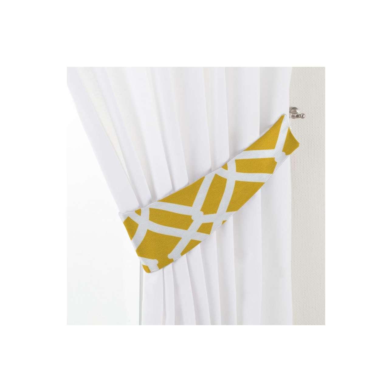 Dekoria Vázačka Victoria, bílý vzor na tmavě žlutém podkladu, 12 × 70 cm, Comics, 135-09