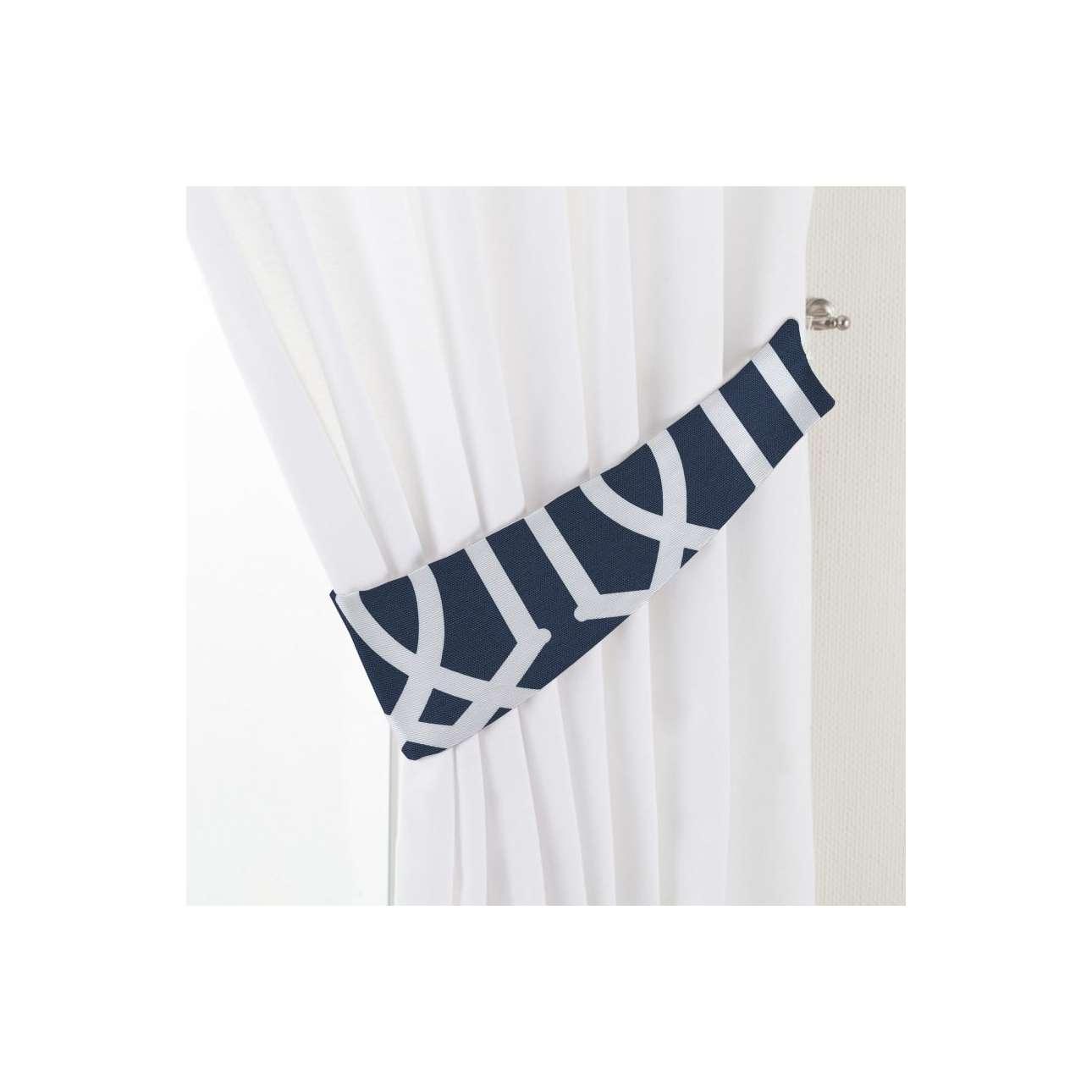 Dekoria Vázačka Victoria, bílý vzor na tmavě modrém podkladu, 12 × 70 cm, Comics, 135-10