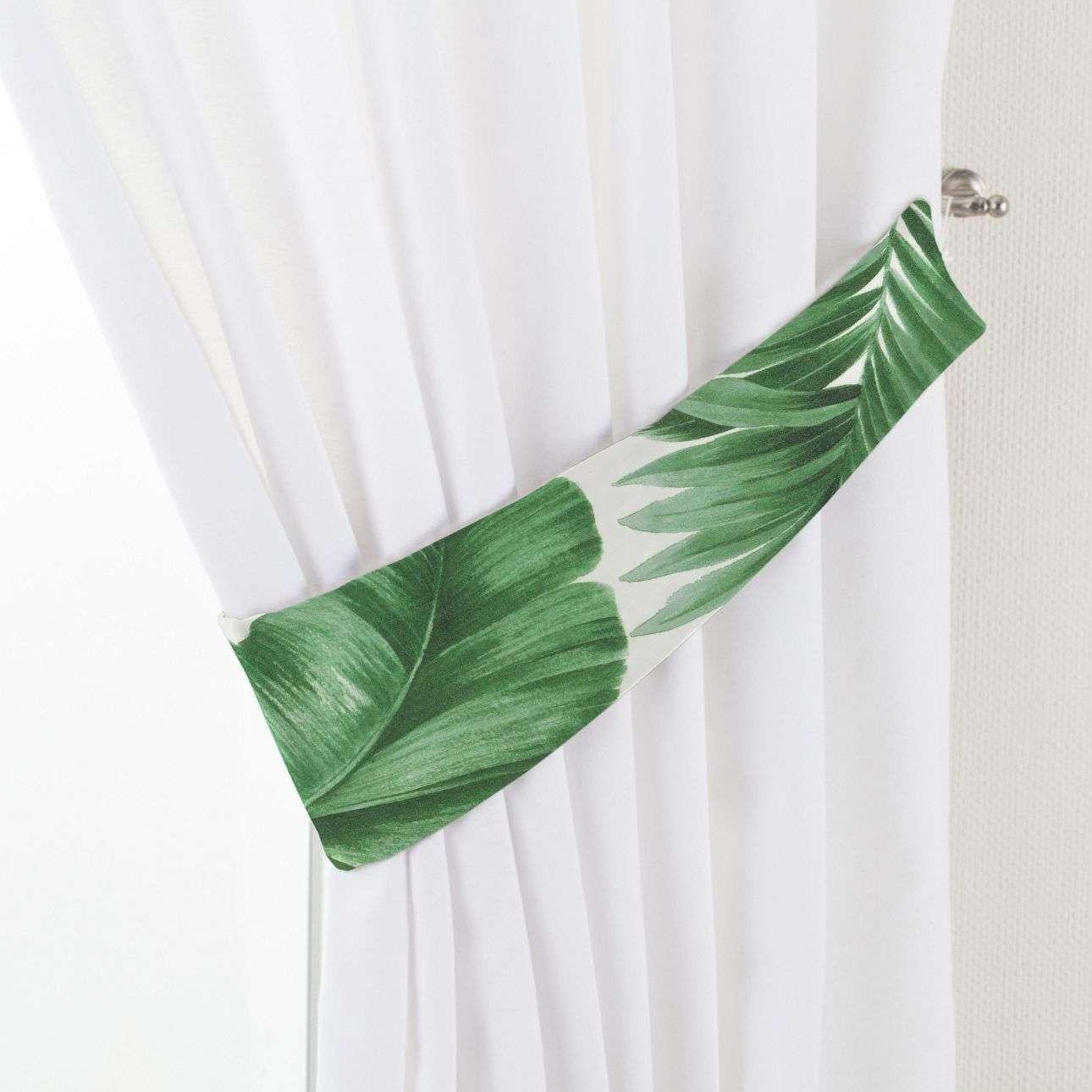 Dekoria Vázačka Victoria, zelené listy na bílém podkladu, 12 × 70 cm, Tropical Island, 141-71