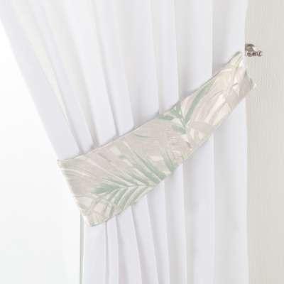 Užuolaidų parišimas Victoria 142-15 žalsvi kreminiai lapai šviesiame fone Kolekcija Gardenia