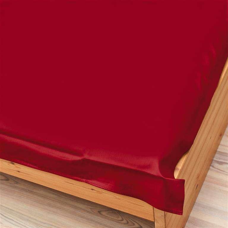 Prześcieradło satynowe proste bordo 160 × 200 cm
