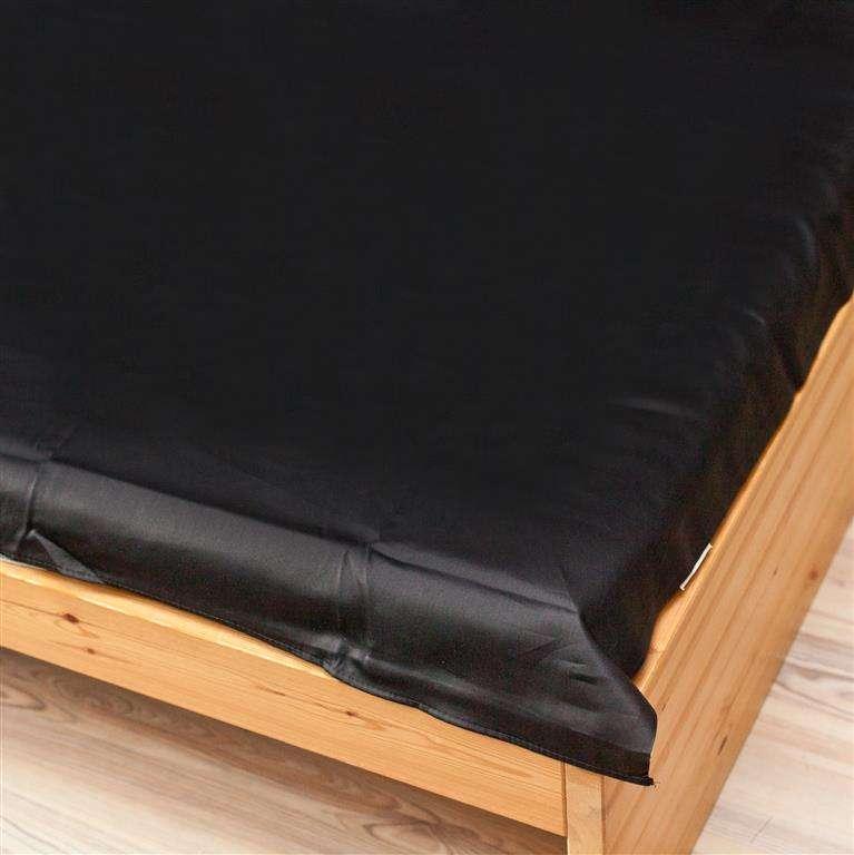 Prześcieradło satynowe proste czarne 160x200cm